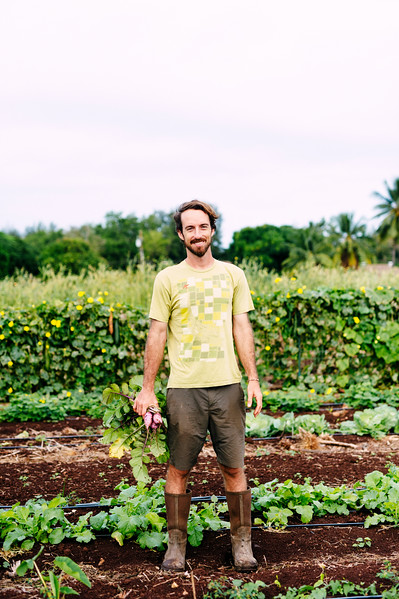 Counter Culture founder Rob Barreca tends to his vegetables on the North Shore farm.