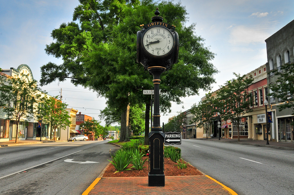Sunday Morning. Downtown Griffin on a Sunday morning.
