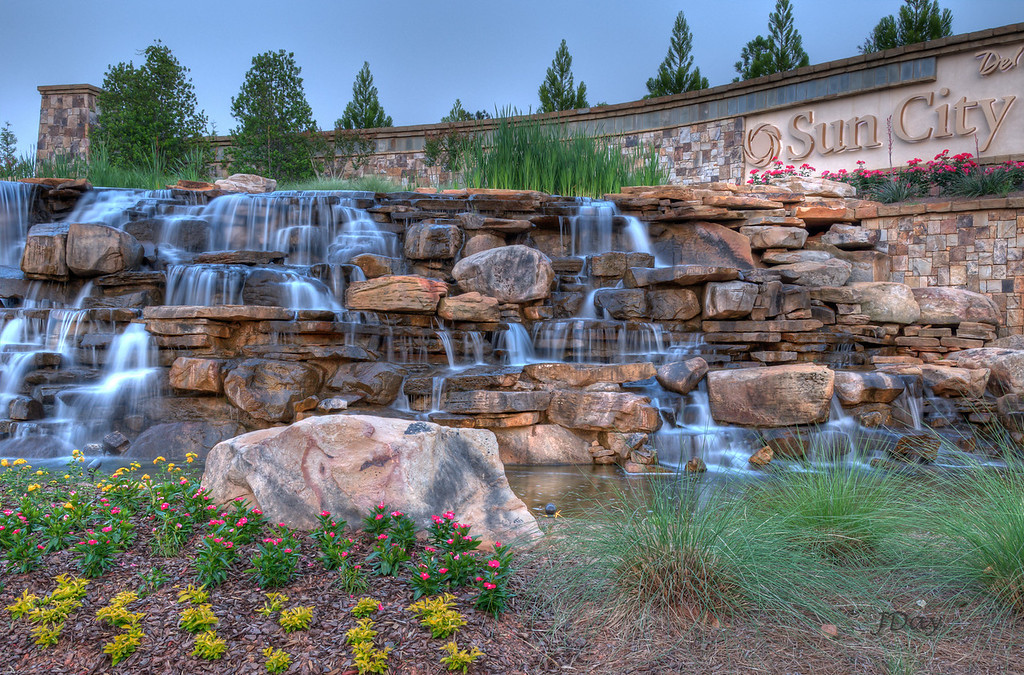 Water falls at Sun City Peachtree, Griffin, GA
