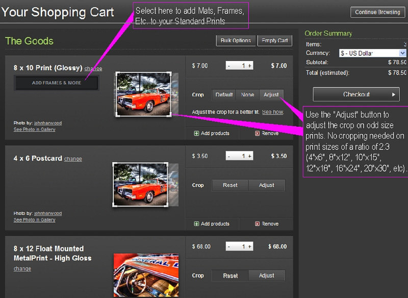 Your Shopping Cart menu. Selecting framing and matting; Adjusting the crop area; adding number of copies; Removing items from the cart; and Adding products to your image.