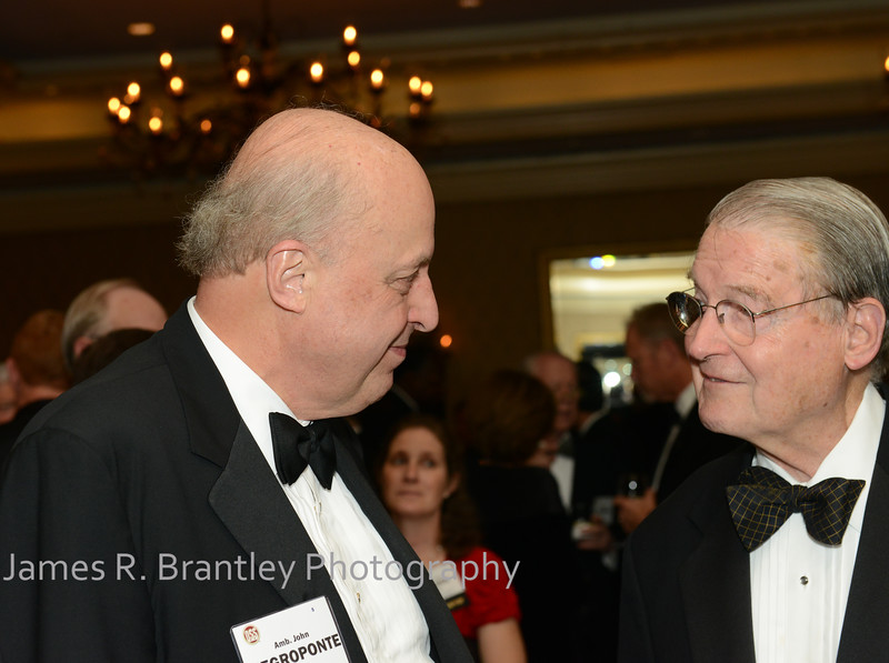 """Former UN Ambassador John Negroponte, former CIA Director Judge William Webster<br /> <br /> The OSS Society presents the William J. Donovan Award to former CIA Director Bill Gates at the Ritz-Carlton Hotel in Washington, DC on Saturday, October 27, 2012.  The OSS (Office of Strategic Services) was the World War II era predecessor of today's Central Intelligence Agency.  The award is named for the first head of the OSS, William """"Wild Bill"""" Donovan.    (James R. Brantley)"""