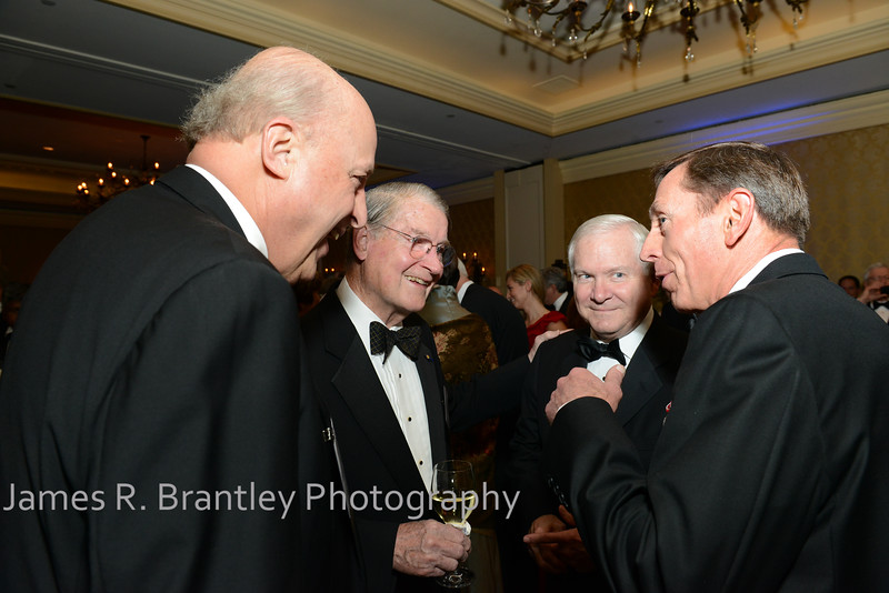 """Former Director of National intelligence Ambassdor John Negroponte, former CIA Director Judge William Webster, awardee former CIA Director Bill Gates, current CIA Director General David Petraeus<br /> <br /> The OSS Society presents the William J. Donovan Award to former CIA Director Bill Gates at the Ritz-Carlton Hotel in Washington, DC on Saturday, October 27, 2012.  The OSS (Office of Strategic Services) was the World War II era predecessor of today's Central Intelligence Agency.  The award is named for the first head of the OSS, William """"Wild Bill"""" Donovan.    (James R. Brantley)"""