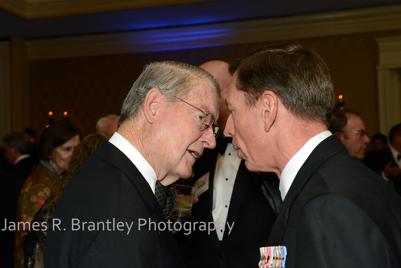 """Former CIA Director Judge William Webster, current CIA Director General David Petraeus<br /> <br /> The OSS Society presents the William J. Donovan Award to former CIA Director Bill Gates at the Ritz-Carlton Hotel in Washington, DC on Saturday, October 27, 2012.  The OSS (Office of Strategic Services) was the World War II era predecessor of today's Central Intelligence Agency.  The award is named for the first head of the OSS, William """"Wild Bill"""" Donovan.    (James R. Brantley)"""