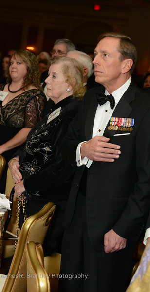 """CIA Director General David Petraeus during the singing of the National Anthem.<br /> <br /> The OSS Society presents the William J. Donovan Award to former CIA Director Bill Gates at the Ritz-Carlton Hotel in Washington, DC on Saturday, October 27, 2012.  The OSS (Office of Strategic Services) was the World War II era predecessor of today's Central Intelligence Agency.  The award is named for the first head of the OSS, William """"Wild Bill"""" Donovan.    (James R. Brantley)"""