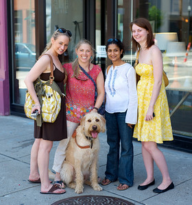 Amy Spasoff of Mariemont, Sara Hoverson of Hyde Park, Carol D'Soza of Hyde Park, Allison Rogers of Anderson (and don't forget Alfie Labradoodle) at The OTR/Gateway Summer Celebration