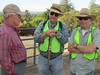 Gary Muerle, Dick Daniel, and Harvey Ceaser prepare for the morning's survey of oaks.