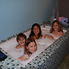 Cousins, bathing suits and bubbles equals fun.