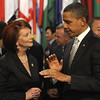 Australian Prime Minister Julia Gillard and USA President Barack Obama