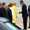 President Barack Obama's visit to Canberra, Australia 2011- Air Force One Arrival at RAAF Base Fairbairn. President Obama is greeted by the Governor General Quentin Bryce