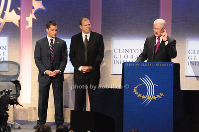 Matt Damon, Eric White, President Bill Clinton   photo  by Rob Rich © 2009 robwayne1@aol.com 516-676-3939