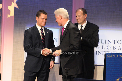 Matt Damon,  President Bill Clinton,Eric White  photo  by Rob Rich © 2009 robwayne1@aol.com 516-676-3939