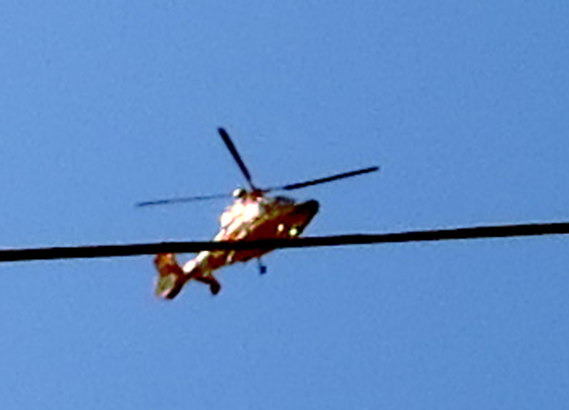 Three circular passes over our house at 9:30 AM. CHP SUV parked across the street.