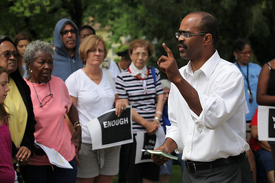 July 20 2013 ___ Professor Malcolm Cash of Ohio State University (Oberlin College Graduate and grew up in Oberlin) addresses the crowd at the Oberlin Justice for Trayvon Rally in Martin Luther King park, Oberlin. photo by Ray Riedel