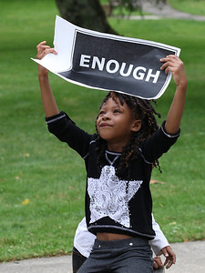 July 20 2013 ___ Ahjanee Coleman, age 5 of Oberlin, at the Oberlin Justice for Trayvon Rally in Martin Luther King park, Oberlin. photo by Ray Riedel