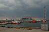 """2008-06-18. Del av Tånguddens hamn. I bakgrunden Skandiahamnen samt """"Anna Maersk"""". / Part of the Tångudden Harbour.  In the distance, Skandiahamnen(Port of Göteborg) and """"Anna Maersk""""[SWE]."""