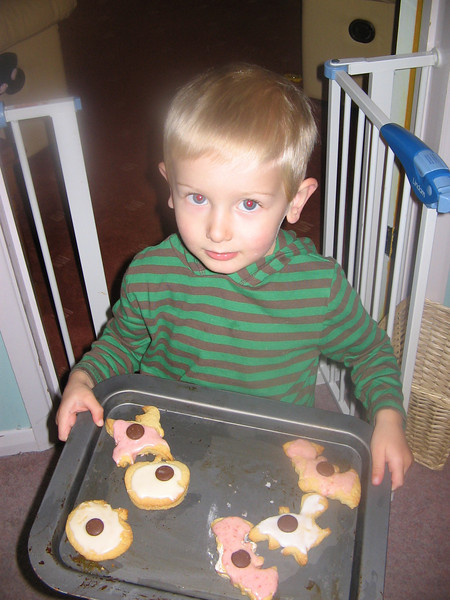Eli with cakes made at Grandma's house