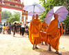 Buddhist Monks Lead Funeral Procession to Local Wat