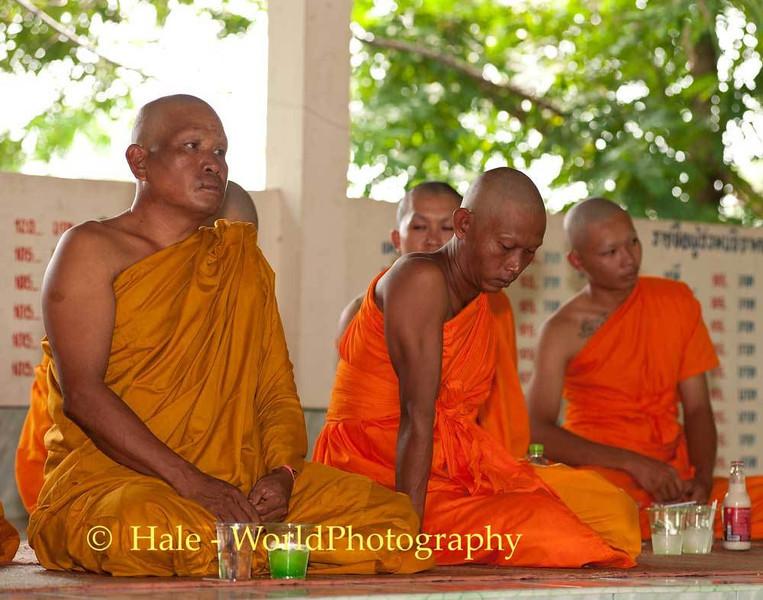 Monks At Lao Loum Funeral