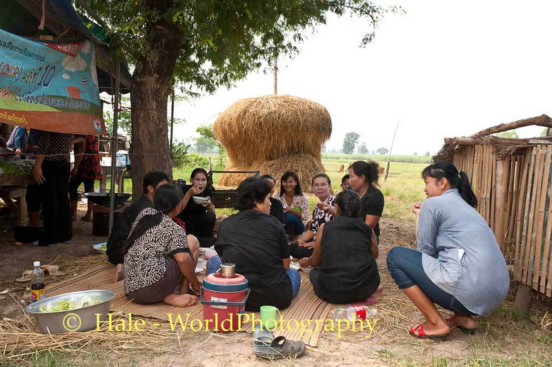 Lao Loum Women Socialize Prior to Start of Funeral Ritual