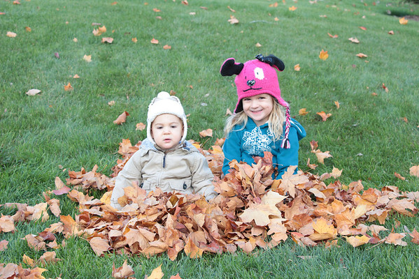 My grandchildren, Clayton and Leah Adams of Huntertown, Ind., enjoying a nice fall day playing in the leaves!<br /> <br /> Photographer's Name: Diana Adams<br /> Photographer's City and State: Frankton, Ind.