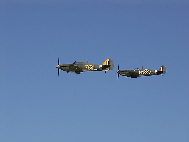 Spitfire (1941) Vc and Sea Hurricane (1941) 1b at Shuttleworth.