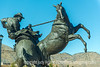 Sculpture in Golden, CO, captured from a moving car