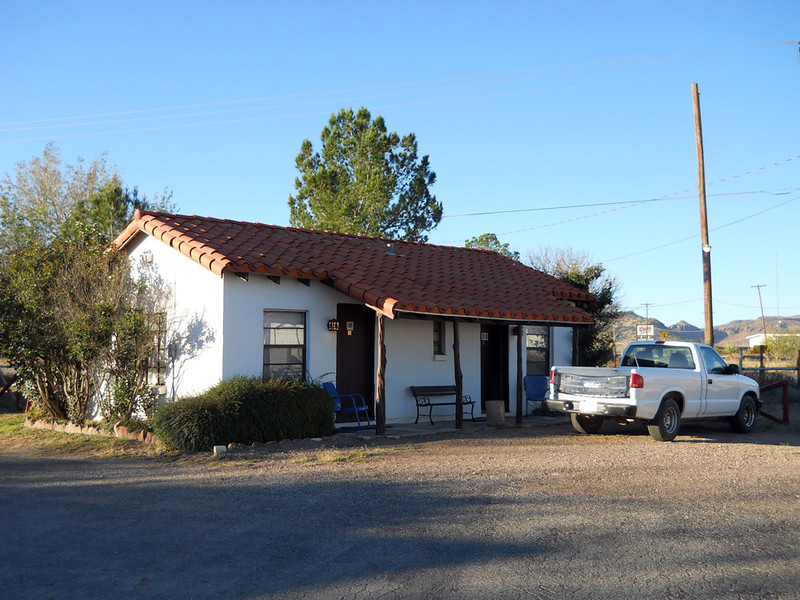 ANTELOPE LODGE COTTAGE<br /> Alpine, Texas<br /> <br /> I had a forced stay in Alpine one time due to a bad fuel pump and this was the little place I stayed in. My room was the door on the right, #10. I thought I had a photo of the main office building, but it didn't turn out. I'll have to go back. The white truck is the loaner the garage loaned me. Damned nice of them, I thought.