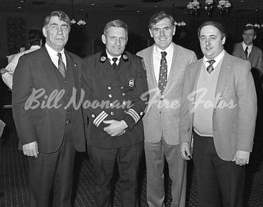 Marty, Leo, Mayor Ray Flynn and A. Mike Mullane on the day Leo was sworn in as Fire Commish'...1983...