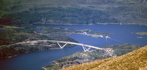 Kylesku from Sail Gharbh - bridge nearing completion, ferry nearing retirement.  4pm, 9/6/84