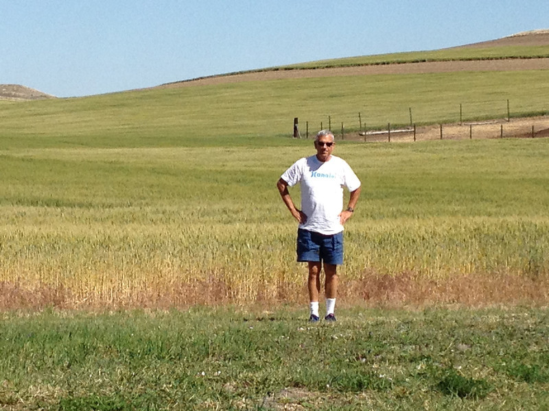 Out standing in his field.