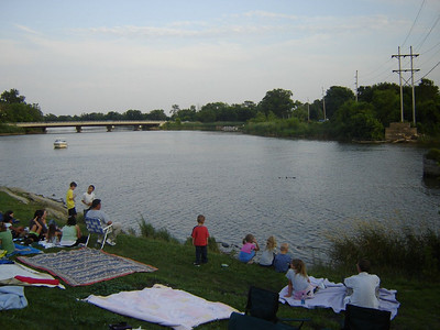 Ohio Visit  Sitting along the banks of the Portage River in Oak Harbor Ohio, waiting for the Fireworks to start.