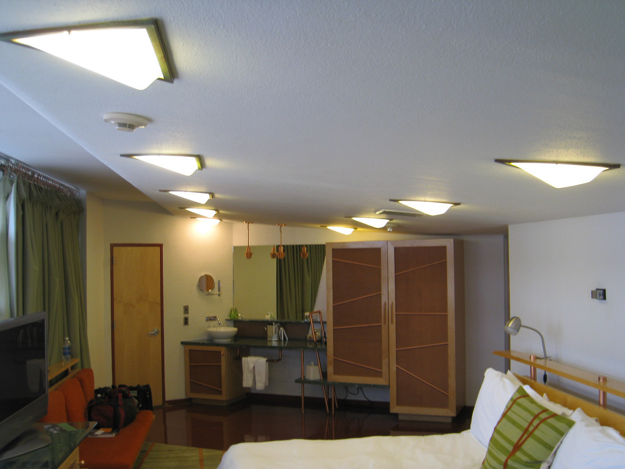 Note the custom light fixtures created for the building in our room at the Inn at Price Tower. Room 134 (13th floor).
