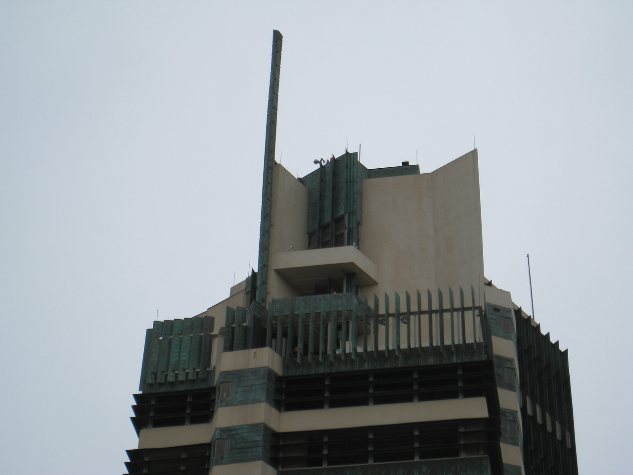 Top of the price tower as seen from street level.