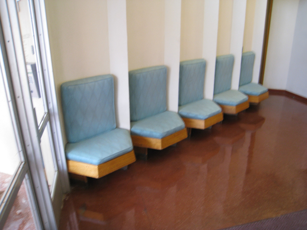 Seating in the lobby of the Price Tower.
