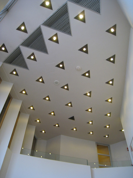 Light fixtures in the lobby of the Price Tower.