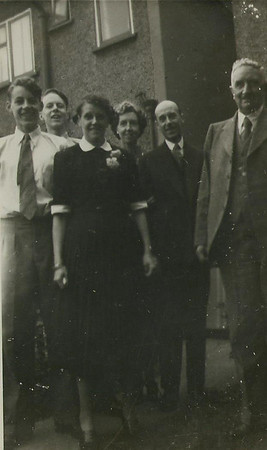 Brian, Peter, Dorothy, Gladys, Bertie and Walter Frances (Wedding of Dorothy and Walter 1955?)