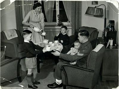 Posed PR photo BAOR 1956. David,Phyllis, Paul, Michael & Lewis Prince