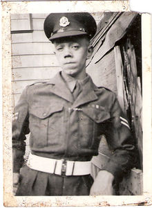 Corporal Lewis Prince RMP circa 1950 in the garden of his parents home.