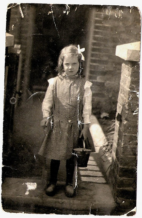 Gladys May Horner, aged about 5 years, circa 1910, outside 11 Parmenter Mews, Ockley Road, (off Streatham High Street)London.