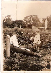 "Charles Albert Prince and Lewis James Prince on ""Charlie's"" allotment, circa 1926 (Lewis aged 2 years)."