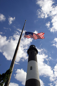 Fire Island Lighthouse with American flag.