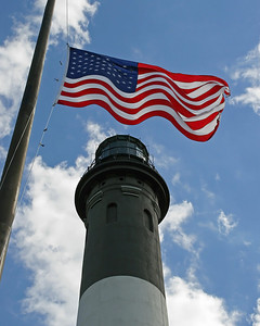 Fire Island Lighthouse with American flag