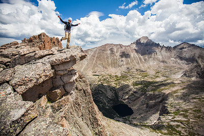 -August 02, 2012-  My good friends Staci, Allie, and I climbed up Arrowhead Peak in Rocky Mountain National Park. We ended up having the whole hike to ourselves. The trail breaks off the popular Black Lake Trail about four miles into the canyon and then rises straight up for 1000ft over the next half mile to Shelf and Solitude Lakes. We then hiked to the back of the shelf past the lakes toward Powell Peak. At the back of the ledge we began to ascend the only non-technical route up Arrowhead Peak. The first 400ft of the climb is Class 3+ but gives way to moderate Class 2 near the top. The view from the top is amazing and well worth the 12 mile hike!   View Photos