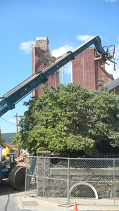 The demolition of old St. Mary Church located on State Street in Hamburg, PA.