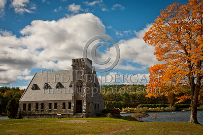 Old Stone Church - Wachusett Reservoir in Autumn, West Boylston MA