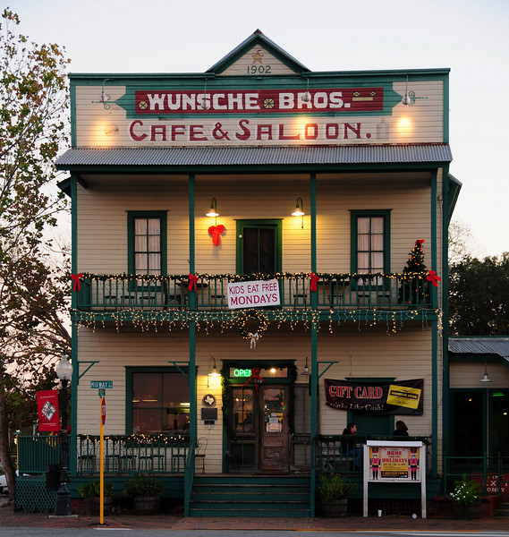 Wunsche Brothers Cafe.  Built in 1902, just across the street from the railroad tracks.