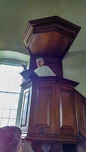 Prof. Karyn Wiseman strikes a Muhlenberg pose
