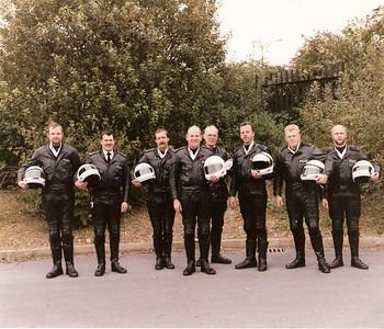 Plymouth Traffic Unit motorcycle section: Left to Right: John Hodgson, Keith Bowden, Steve Coombes, Trevor Davies (Sgt), John Oliver, me, Greg Jarrett, Phil Willcocks.