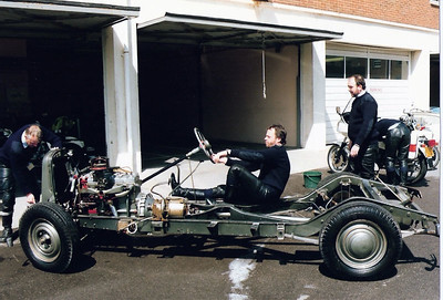 Moving the exhibits from the training wing (regional driving school) so that it could be used for a conference. The chassis is a Humber that is now in the Haynes Motor Museum, Sparkford.