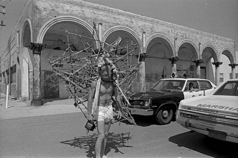 Kim Jones wearing his structure on Ocean Front Walk just north of Market St - 1975